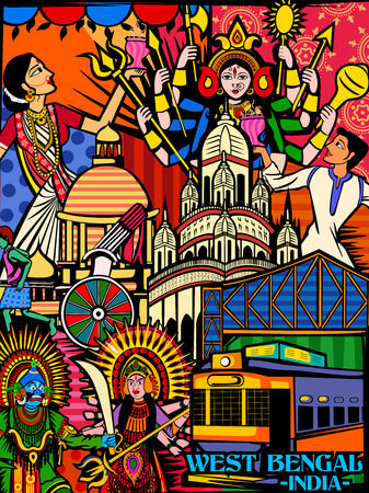 Vector design of colorful culutral display of State  West Bengal in India Çizim