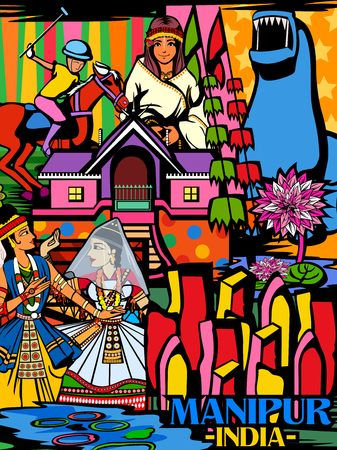 Colorful culutral display of State Manipur in India