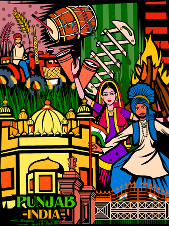 Colorful culutral display of State Punjab in India Illustration
