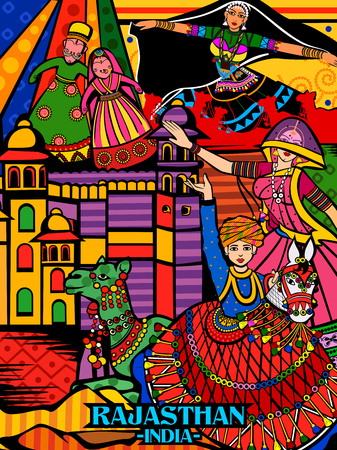 Colorful culutral display of State Rajasthan in India Illusztráció