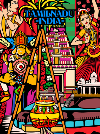 Vector design of colorful culutral display of State Tamil Nadu in India