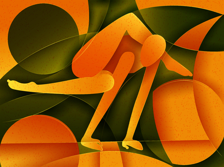Vector design of people practicing Yoga on abstract cubism backhround