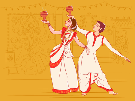 Couple performing Dhunuchi dance of Bengal, India