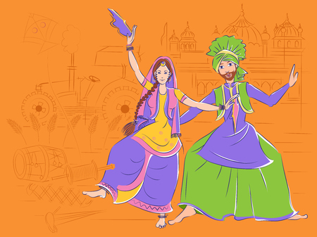 Couple performing Bhangra folk dance of Punjab, India