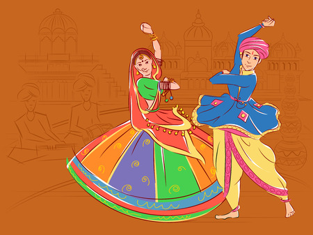 Pareja realizando danza folklórica Garba de Gujarat, India