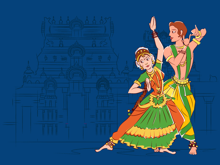Couple performing Bharatanatyam classical dance of Tamil Nadu, India