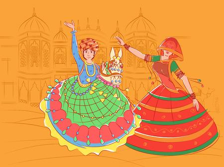 インド・ラージャスターン州のカチ・ゴディ民族舞踊を披露するカップル