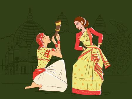 Couple performing Bihu folk dance of Assam, India