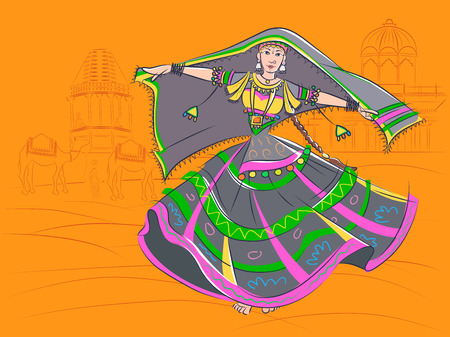 Woman performing Kalbelia folk dance of Rajasthan, India Illustration