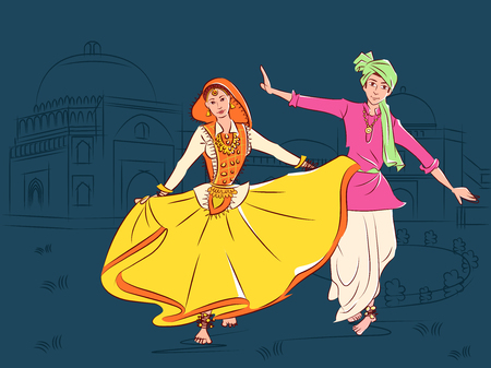 Vector design of Couple performing Phag folk dance of Haryana, India