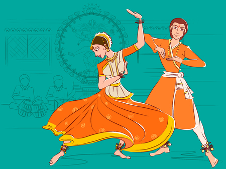 Couple performing Kathak classical dance of Northern India Çizim