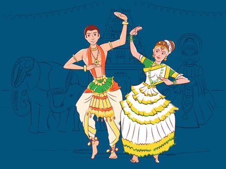 Couple performing Mohiniattam classical dance of Kerala, India