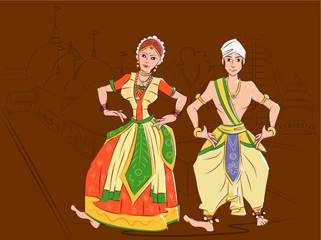 Couple performing Sattriya classical dance of Assam, India