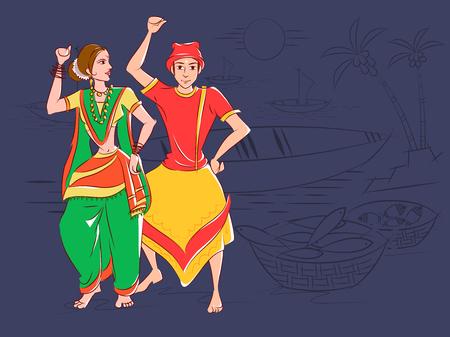 インド・マハーラーシュトラ州のコリ民族舞踊を披露するカップル