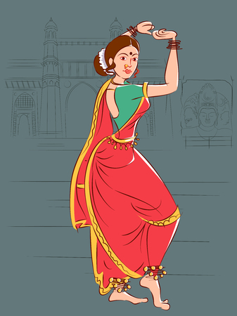 Woman performing Lavani folk dance of Maharashtra, India.
