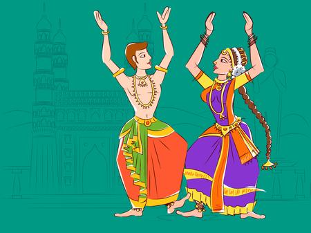 Couple performing Kuchipudi classical dance of Andhra Pradesh, India