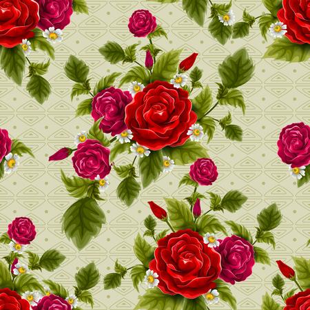 Fond de motif floral sans couture avec fleur fraîche colorée