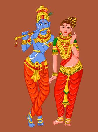 Statue of Indian God Radha and Krishna Sculpture Illustration