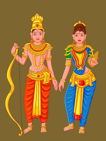 Statue of Indian Lord Rama Sita Sculpture Illustration