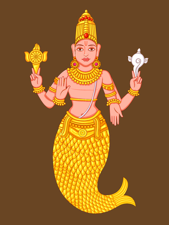 Statue of Indian Lord Matsya Sculpture Illustration