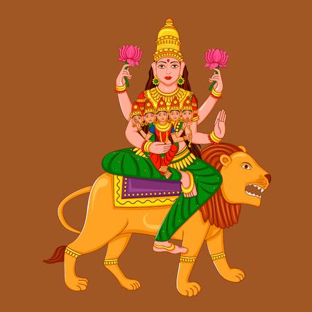 Vector design of statue of Indian Goddess Skanda Mata sculpture one of avatar from Navadurga engraved on stone