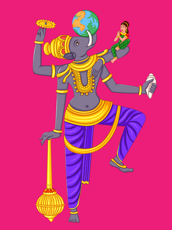 Vector design of statue of Indian Lord Varaha sculpture one of avatar from the Dashavatara of Vishnu engraved on stone Illustration
