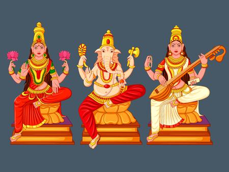 Statue of Indian God Lakshmi Ganesha  and Saraswati Sculpture