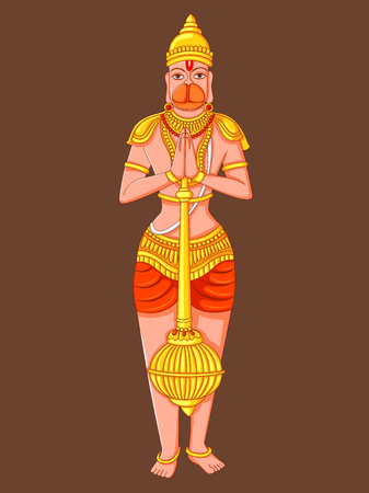 Statue of Indian Lord Hanuman Sculpture Illustration