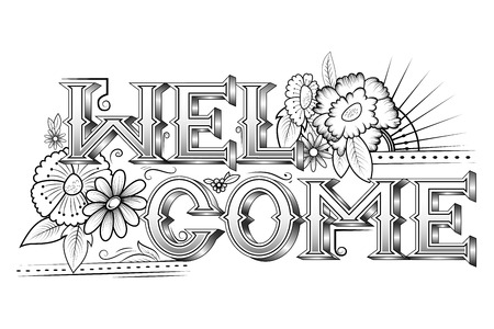 Creative typography text lettering for Welcome Stock Illustratie