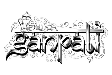 Colorful Holiday typography for Ganpati