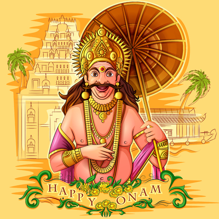 King Mahabali of Hindu mythology for South India Onam festival 向量圖像