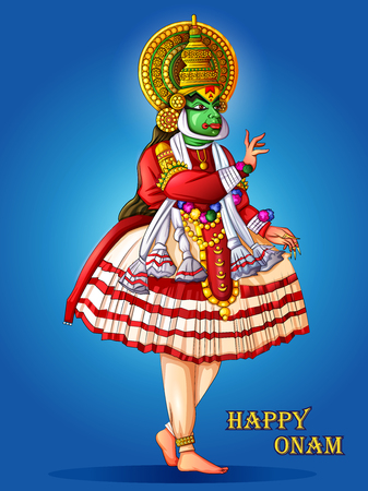 Happy Onam festival background of Kerala in Indian art style