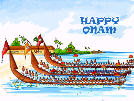 Boat Race competition on occasion of Onam Kerala festival 向量圖像
