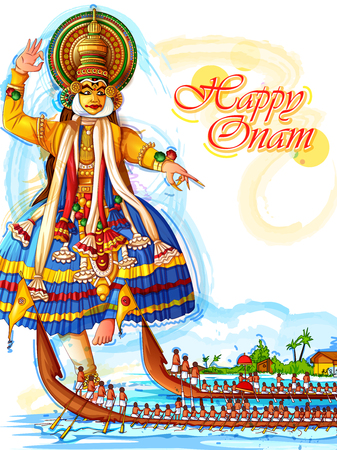 Happy Onam festival background of Kerala in Indian art style