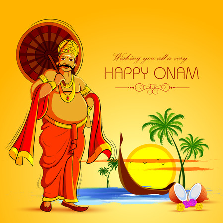Happy Onam Festival background of Kerala with King Mahabali