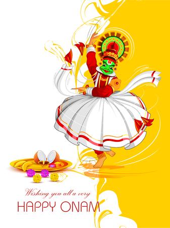 Happy Onam Festival Background with Kathakali dancer