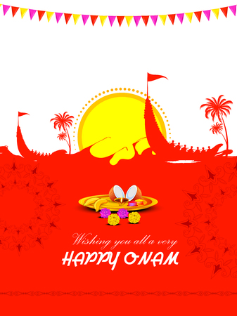 Happy Onam Big Shopping Sale Advertisement background for Festival of South India Kerala Illustration