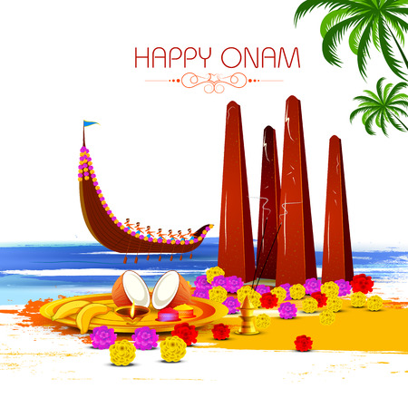 Happy Onam with Onathappan and boat race background for Festival of South India Kerala  イラスト・ベクター素材