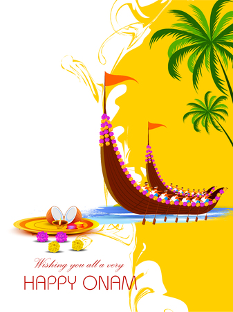 Happy Onam background for Festival of South India Kerala Illustration