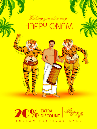 Happy Onam Big Shopping Sale Advertisement background for Festival of South India Kerala Ilustração