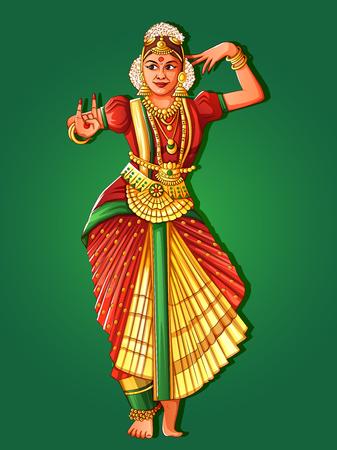 Mujer realizando danza clásica Bharatanatyam de Tamil Nadu, India Ilustración de vector