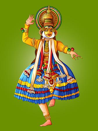 Man performing Kathakali classical dance of Kerala, India Illustration