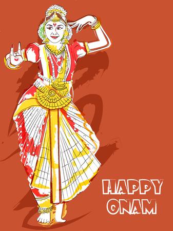 Woman performing Bharatanatyam classical dance of Tamil Nadu, India