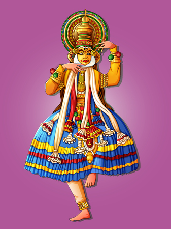 Man performing Kathakali classical dance of Kerala, India Çizim