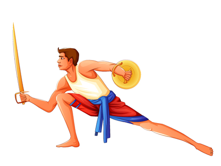 Vector design of South Indian people performing Kalaripayattu dance form of martial art
