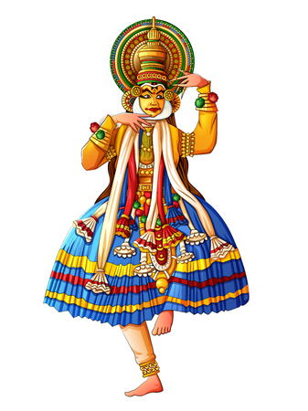 Man performing Kathakali classical dance of Kerala, India Vectores