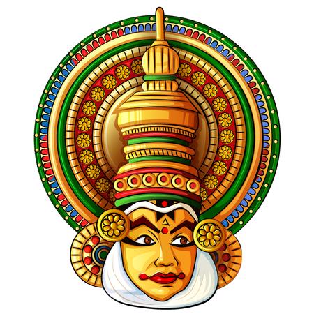 Rostro de danza clásica Kathakali de Kerala, India