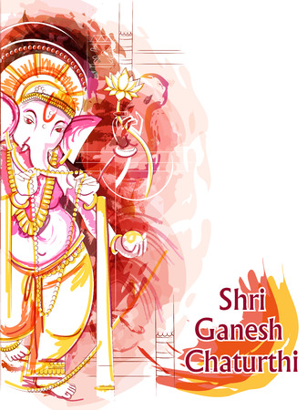 Abstract painting of Indian Lord Ganpati for Ganesh Chaturthi festival of India Stock Vector - 106338096