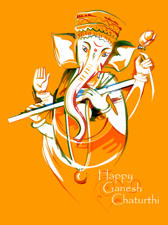 Abstract painting of Indian Lord Ganpati for Ganesh Chaturthi festival of India