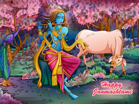 Lord Krishna che suona il flauto di bansuri su sfondo Happy Janmashtami holiday festival